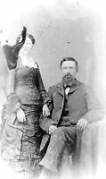 ANTIQUE 8 X 5  GLASS PHOTO NEGATIVE - 1860-1890 - OLD STYLE LOVE & MARRIAGE