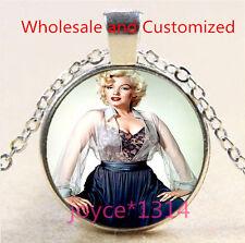 Marilyn Monroe Cabochon Tibetan silver Glass Chain Pendant Necklace #4839