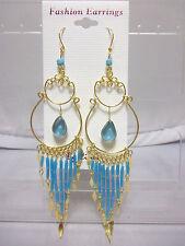 """4 1/4"""" Long Peruvian Alpaca Handmade Dangle Pierced Earrings-Goldtone/Aqua"""