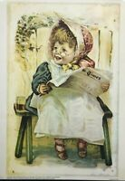 Fine Art Child Related Print - 1976 - Victorian Era Girl Reading the Newspaper