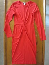 WOMEN H&M BASIC RED LONG SLEEVE STRETCH FITTED SCRUNCH MIDI DRESS SMALL S SEXY