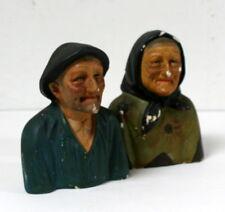 Couple de bustes en plâtre bretons