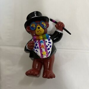 "Vintage Lisa Frank PVC Figure Hollywood Bear Cake Topper 2.5"" Rainbow Teddy"