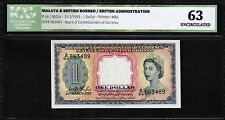 MALAYA & BRITISH BORNEO 1 DOLLAR 1953 ICG 63 UNCIRCULATED P 1a ( FIRST ) QEII