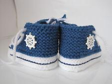 Converse Chucks Blau Baby Schuhe Socken 10cm gehäkelt gestrickt Handarbeit NEU