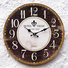 Uhr Wanduhr Küchenuhr braun antik Barock Ornament Nostalgie Paris Fleur de Lis