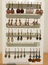 Semi Precious Stone Bead & Bead Cap Earrings on Bronze Plated Ear Wires