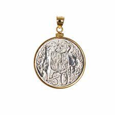 1966 80% Silver Australian Round 50c Coin - Gold Filled Bezel