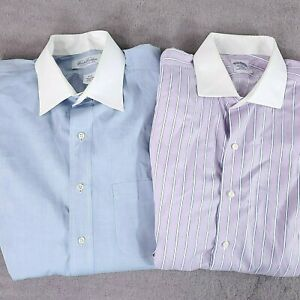 Brooks Brothers Mens Dress Shirts Blue Purple Traditional Fit Size 16-33 & 16-34