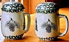 "Salt & Pepper Spongeware Shakers ""Holiday Pines Folk Art"" Tienshan Evergreen NIB"