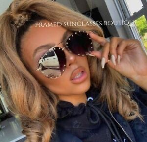"""BLACK Studded SUNGLASSES """"Get The Look Of Luxury For Less"""" CASE & CLEANING CLOTH"""
