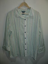 Koret Womens Size XL (46) White Striped Long Sleeve Button Down Top 227-8655S