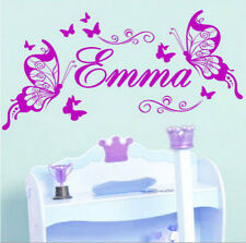 Personalised Name Butterflies Girls Bedroom Room Wall Stickers Vinyl Decal Decor