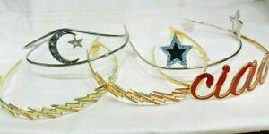 DESIGNER AMBER SAKAI 19K GOLD PLATED TIARA'S HEADBANDS FESTIVE CIAO MOON & STARS