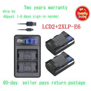 LCD2 USB Charger +2xLP-E6 Battery for Canon LP-E6N EOS 5D 6D 7D Mark 2/3 70D 80D