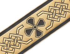 """Very Wide, Jacquard, Vestment Trim. Celtic. Gold, Black.  3¾ """"  wide, 3 yards."""