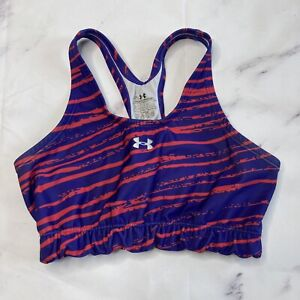 Under Armour Sports Bra Womens Small 30-32 Pink Purple Striped Athletic J79