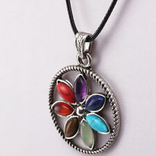 7 Chakra Healing Stones Flower Silver Moon Pendant Necklace Reiki Healing Gift