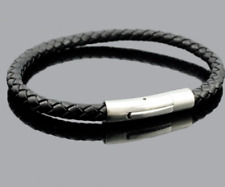 """6mm Genuine Leather Black Braided Round Bracelet 8"""" 316L Stainless Steel Clasp ."""