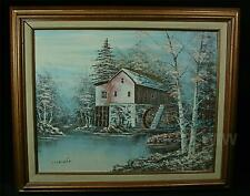Vintage Framed Caufield Oil Painting Of Mill On Canvas