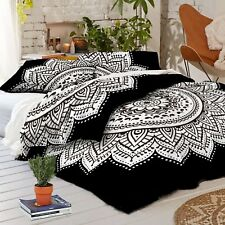Black White Modern Classy Duvet Indian Mandala Doona Cover Quilt Comforter Case