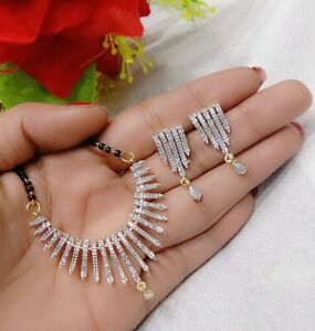 Indian Traditional Mangalsutra Earrings Pendant Bollywood Ethnic Jewelry Women