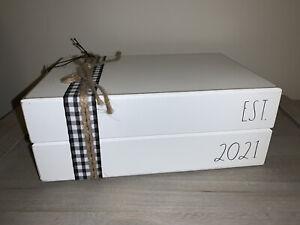 RAE DUNN EST. 2021 White Stacked Books Wedding Baby New Home Housewarming Gift
