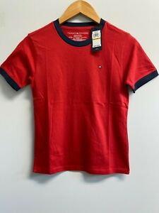 NEW Tommy Hilfiger Youth Boys S,L,XL T Shirt Logo TH Flag Solid White, Red, Navy