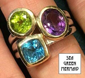 14k Yellow Gold & 925 Ring w Peridot, Aquamarine & Amethyst. LARGE--b47_10_20