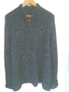 "M&S blue chunky knit zip neck jumper XXXL/52""-54""chest"