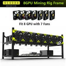 Veddha 8 GPU Stackable Open Air Mining Miner Case Frame Rig V3C Bracket + 7 Fans