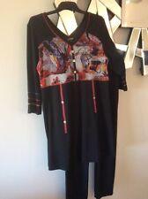 LA STRADA Black Red White Orange Khaki 3/4 Sleeve Stretch Tunic Dress Top S 8 10