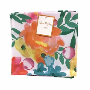 Fabric Napkins Cloth Dinner Table Pink Floral Pattern Reusable Washable, 4 Total