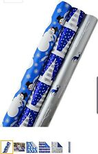 Hallmark Reversible Christmas Wrapping Paper Bundle, Blue and White (Pack of 3,
