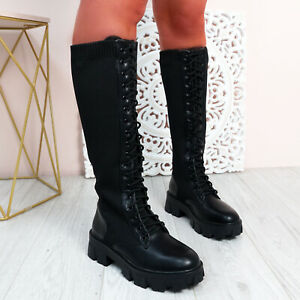 WOMENS LADIES KNEE HIGH BIKER BOOTS CHUNKY SOLE PLATFORM LACE UP WOMEN SHOES