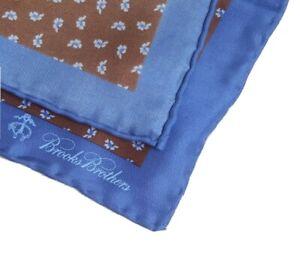 Brooks Brothers 100% Silk Brown Royal Blue Trim Floral Scatter Pocket Square NWT