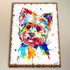 Watercolor Painting Canvas Art Print Colorful Yorkshire Terrier Home Decor 24x32