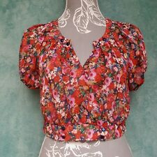 Ladies Crop Blouse Size UK 12 Floral Puff Sleeves Sheer Button Up Festival Boho