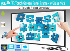"LCD/LED 2 Touch IR Overlay Touch Screen Frame Panel 21.5"" - w/ Glass 16:9"