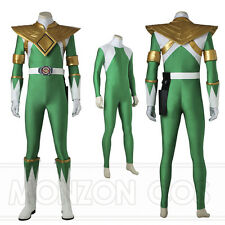 Mighty Morphin Green Power Rangers Green Dragon Ranger Cosplay Costume Handmade