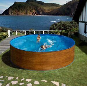 Aqua World Above Ground 15ft x 4ft Wood Effect Round Swimming Pool