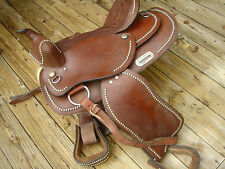 """western horse saddle 15.75"""" brown leather w/studs, trail ranch 5"""" gullet"""