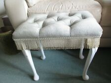 Vintage Green Dressing Table / Bedroom Stool - White Queen Anne Legs / Tassels