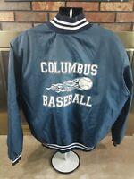 Vintage Columbus Baseball 1/2 Zip Varsity Team Jacket Coat Mens Size XXL Blue