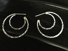 Post Back Hoop Cresent Design Earrings Lovely Estate Sterling Silver Diamond Cut