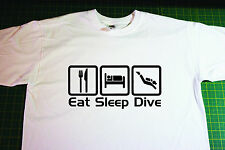 Eat, Sleep, Dive T-Shirt In White. Size Large. SCUBA, Diving