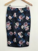 FOREVER NEW Womens Navy Blue Pink Floral High Waist Satin Pencil Skirt Size 8