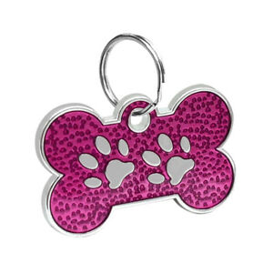 Personalized Dog Name Tags Cat Puppy Pet ID Collar Engraved Tag Bone Paw Glitter
