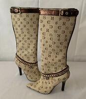 Rocawear Tan Naomi Boots Knee High Chain Charm Logo Print Women's Size 11