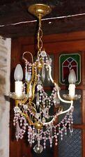 Ancien LUSTRE  suspension  pampilles cristal perles roses 3 feux 1900
